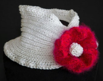 White cowl with huge flower