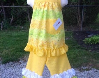 Yellow, green and white  2 pc Summer Pant Set, girls clothing,  bright and beautiful, playtime or dress up, Size 3