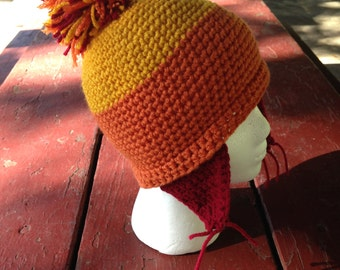 Crochet Cunning Hat - Beanie with Earflaps and PomPom - Newborn / Toddler / Child / Teen / Adult - Made to Order