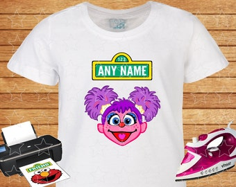 Any Name on T-shirt Abby Cadabby. Iron on Transfer, Instant Download, Abby Cadabby Sesame Street on T-shirt. Personalized T-shirt.