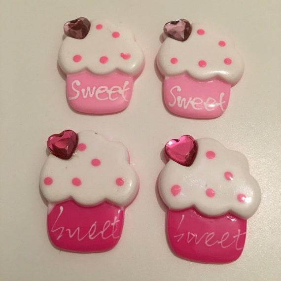 Reduced 4 Sweet candy cupcake resin cabochon w/ rhinestone kawaii decoden jewelry making flatback mixed lot embellishment charm diy brooch