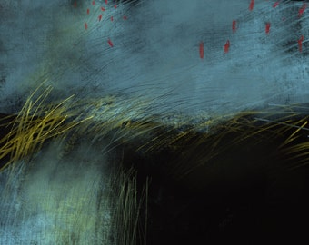 Drawing, painting on paper, black, blue, yellow, red, abstract art, landscape, art print, limited edition, signed and numbered proof.
