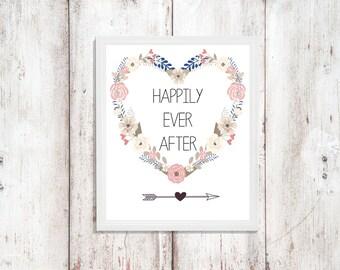 Custom Happily Ever After Heart Wreath Wedding Sign|Arrow| Heart| Table Print| Wedding Decor