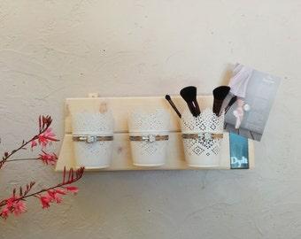 Shelf bathroom, storage, gift, home decor, organizer makeup, metal pots, design Bookshelf, wood and metal, wall bracket and pots