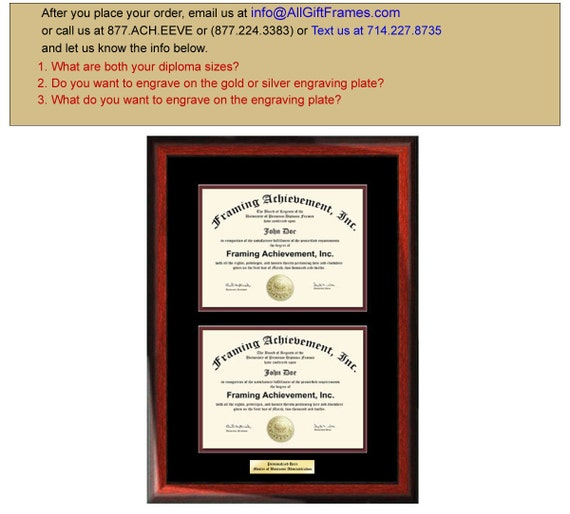 Double Graduation Diploma Frame Engraved Dual Certificate