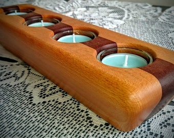 Handcrafted Steamed Beech and Sapele Candle Holder