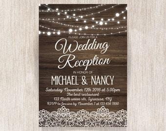 Rustic Wedding Reception Invitation. Wedding Reception Invitation. Fairy Lights. String Lights. Lace Invitation. Wooden background - 1603