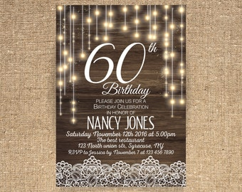 60th birthday invitation Birthday party Rustic Birthday Invitation Custom Invitation Light Bulb String light Wooden ANY AGE - 1574