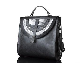 Black Tara | Handmade, Genuine Leather Bag, Backpack, Print