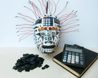 Masks crafts, paper mache, electronic parts.
