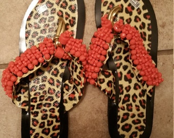 African Bridal coral slippers, Traditional slippers, wedding slippers.Traditional customs