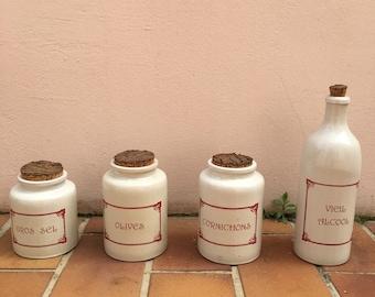 SUPERB SET VINTAGE french ceramic kitchen storage canisters