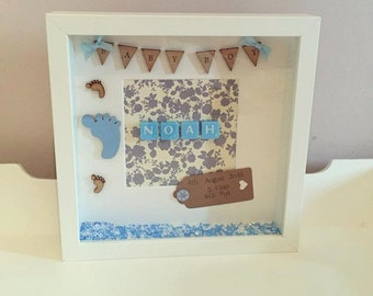 Baby Boy Personalised Frame, New Born Gift