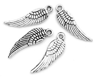 """10 trailer """"Wings"""" - 15 * 5 mm - antique silver / i1-0627"""
