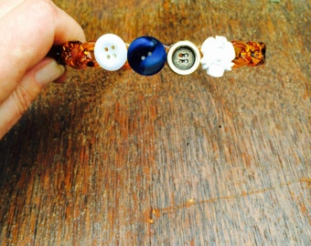 Vintage button decorated Alice band