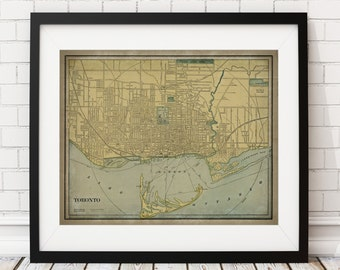 Toronto Map Print, Vintage Map Art, Antique Map, Canadian Wall Art, Canada Art, History Gift, Canada Print, Wall Decor, Map Poster, Rustic