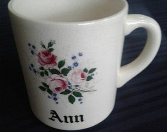Vintage Coffee Mug with the name of Ann stamped Made in England