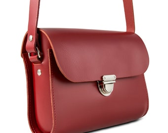 Red Small Leather Crossbody/Shoulder Bag, Made in London