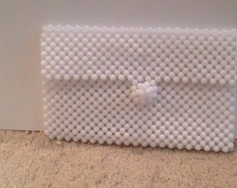 white beaded money purse