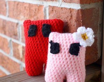 Super Meat Boy and Bandage Girl Inspired Amigurumi Set -- Handmade Crochet