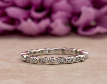 Art Deco Wedding Band, Eternity Band, Stackable Ring, Marquise & Dot Ring, Diamond Simulants, Sterling Silver