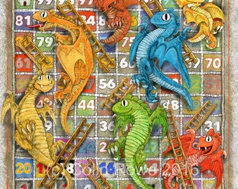 Dragons & Ladders - Limited edition Canvas Print