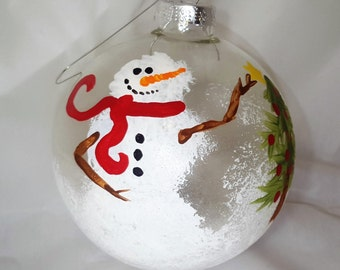 Handpainted Snowman/Christmas Tree Glass Ornament (Set of 4, Heavy Duty Glass Balls)