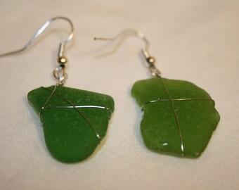Dark Green Beach Glass Earrings