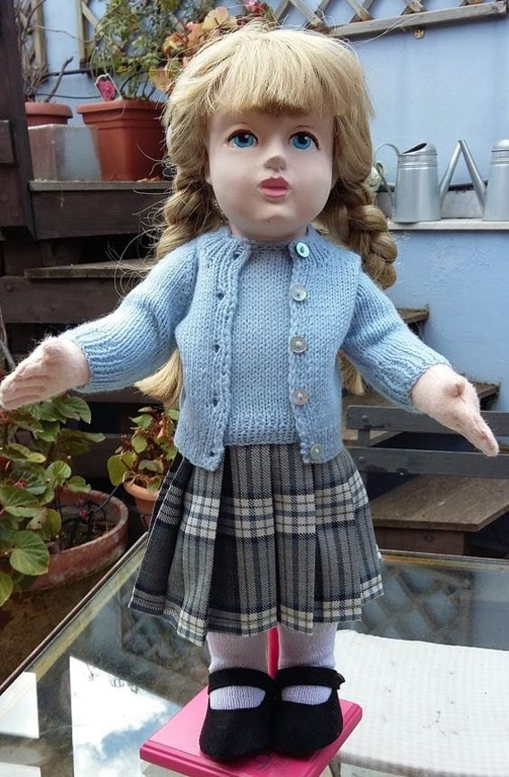 "18 "" doll outfit with tartan skirt and ligth blue twin set"