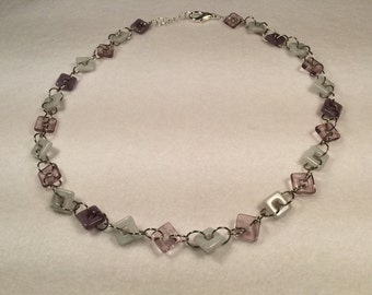 Purple Square Glass Bead Necklace