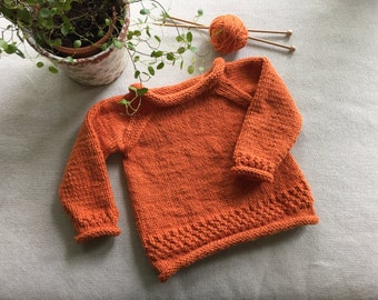 Hand Knit Organic Cotton Baby Sweater