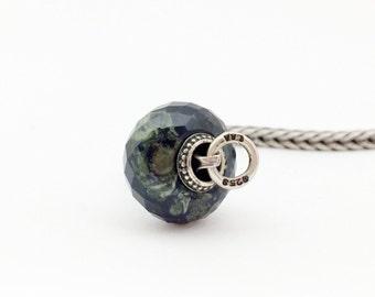 Natural Galaxy Jasper gemstone charmbead fits trollbeads bracelet