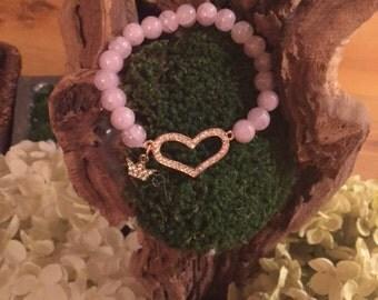queen charm heart beaded bracelet