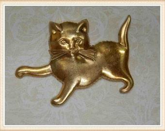 3 pcsraw brass cat kitten embellishment vintage ornament finding  E0058