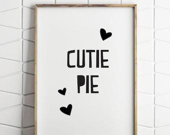 baby girl wall decor, baby girl printable, cutie pie wall decor, baby girl room art, baby girl wall art, cutie pie printable