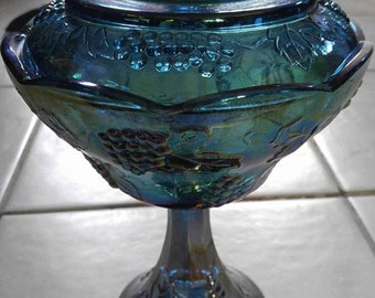 Carnival Glass Grape Harvest Candy Dish with Lid