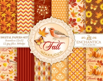 Fall Digital Paper, Digital Paper Fall, Autumn Digital Paper, Thanksgiving Digital Paper, Fall Digital Background, Pumpkin, Fall Patterns