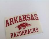 Vinyl decal, University of Arkansas Razorbacks, glossy