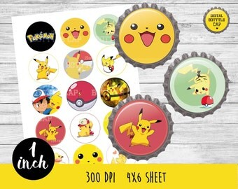 50% OFF SALE Pikachu bottlecap-Pokemon bottlecap-1 inch Bottlecap-Printable Image-Pokemon collage sheet-Pokemon bottle cap-Pokemon-COD54