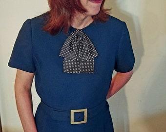 Vintage Navy Dress With Polka Dot Detail, Pockets & Matching Belt