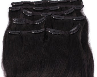 Off Black: Clip In Human Hair Extensions, Color #1B