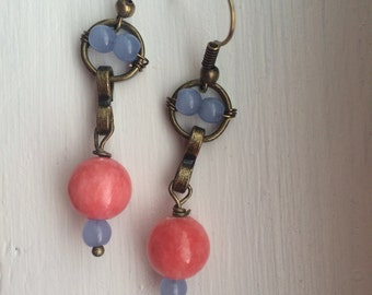 Light Blue & Coral Drop Earrings  ** Free shipping within US**