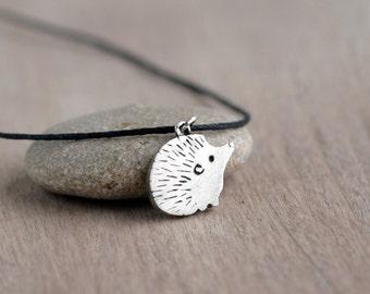 Silver hedgehog pendant, Silver Hedgehog Jewelry, Cute Woodland Animal, Adorable Hedgehog Gifts