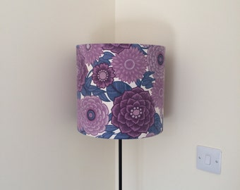 purple vintage lampshade. perfect for lounge, living room, bedroom, great for a student flat or new home. Vintage fabric