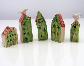 Five Houses - miniature pottery houses, Ceramic houses, Small clay houses, Tiny house,with a bird house.