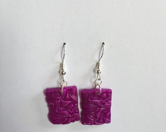 Hot-pink drop earrings