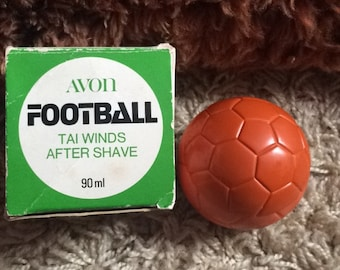Vintage 1970's Avon Tai Winds Football After Shave in Original Box 90ml!