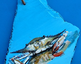 Unique & Handpainted Chesapeake Bay Blue Crab on Repurposed Roof Slate - Ready for Hanging