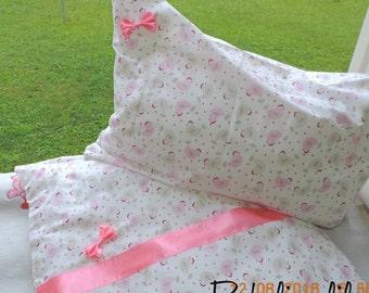 Baby bedding 120x90cm 60x40cm 100% BW satin ribbon girl