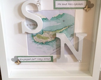 Personalised Map Gift Frame with Initials